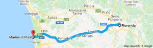 ruta con autocaravana de Florencia a Marina di Pisa