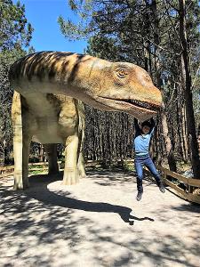 Niño con dinosaurio Parque Lourinhà